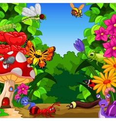 collection of insects in the flower garden vector image vector image
