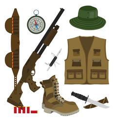 hunter set in flat style camouflage hat gun with vector image