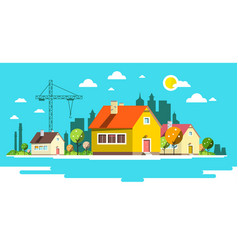 landscape with houses flat design city vector image vector image