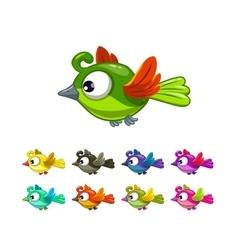 Little cute cartoon flying birds set vector image