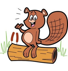 Cartoon Beaver On Log vector image