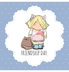 cute girl with cat doodle friendship vector image