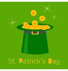Green leprechaun hat with gold clover lucky coins vector image vector image