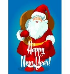 Happy New Year card Santa with gifts bag vector image vector image