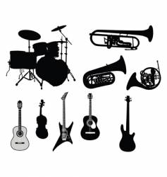 set of musical instruments vector image vector image