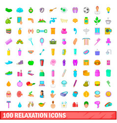 100 relaxation icons set cartoon style vector image