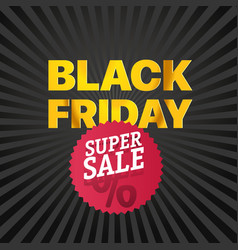 black friday sale red logo super november sale vector image