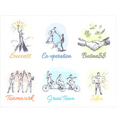 business-themed sketches of profitable cooperation vector image