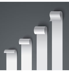 Curled blank paper stripe banners chart on gray vector image