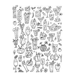drinks collection design of coloring book page vector image