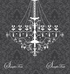invitation card with luxury chandelier on floral b vector image