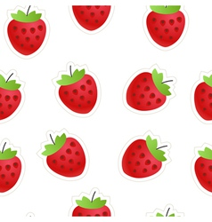 Red strawberry seamless background vector image
