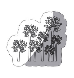 silhouette trees with stem in form hand icon vector image vector image