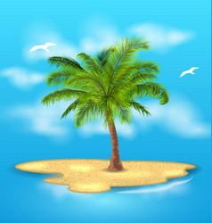 tropical island with palm tree outdoor vacation vector image vector image