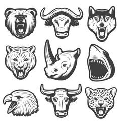 vintage wild animals set vector image vector image