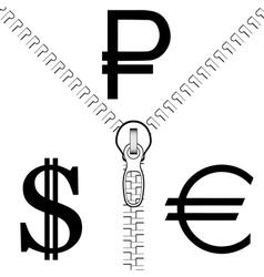 Zipper Rouble Euro Dollar vector image vector image