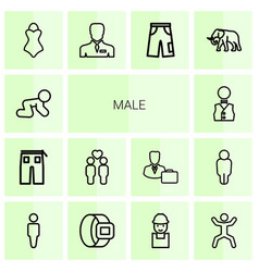 14 male icons vector