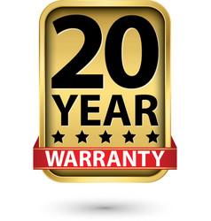 20 year warranty golden label vector