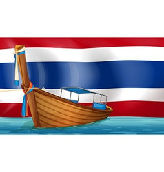 A boat in front of the thai flag vector