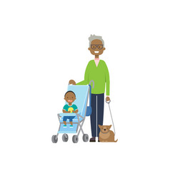 African grandfather with cat and baby vector