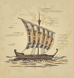 Ancient sailing ship at oars vector
