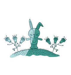Aquamarine hand drawn silhouette of bunny in hill vector