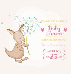 Baby girl kangaroo holding flower - shower vector