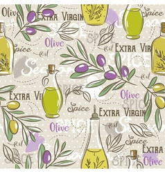 Background with olive bottle oil leafs and spice vector