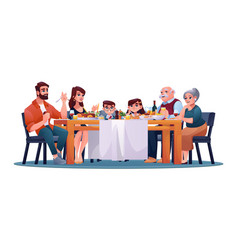 big family enjoy food and drinks on holiday dinner vector image