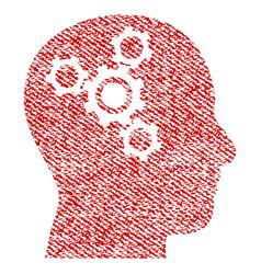 Brain mechanics fabric textured icon vector