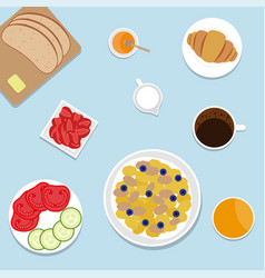 breakfast top view vector image