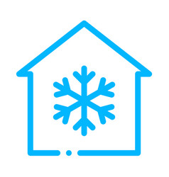 Building and snowflake cooling equipment vector