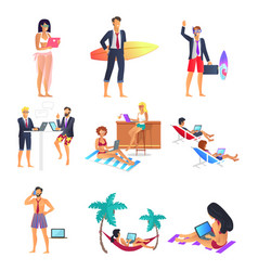 business summer people set vector image