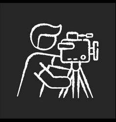 cameraman chalk white icon on black background vector image