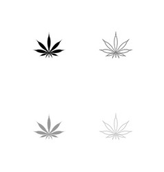 Cannabis marijuana leaf black and grey set icon vector