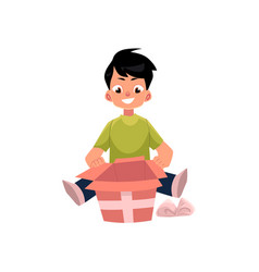 Cartoon boy opening present box isolated vector