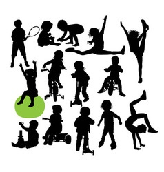 Children Sport Activity Silhouettes vector