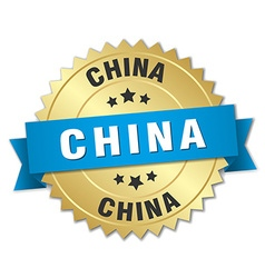China round golden badge with blue ribbon vector