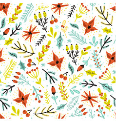 christmas flowers and plants seamless pattern vector image