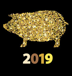 Christmas greeting card with golden pig and date vector