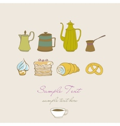 coffe tea and sweet vector image
