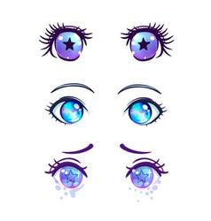 colorful beautiful eyes in anime manga style vector image