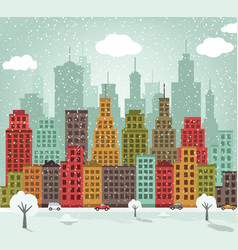Colorful city winter vector