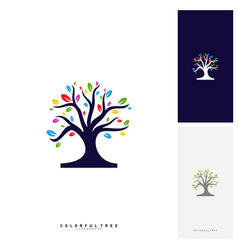 colorful tree logo design template luxury tree vector image