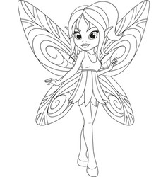 Coloring cute fairy with wings vector