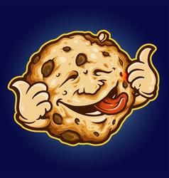 cookie biscuit delicious cartoon mascot vector image