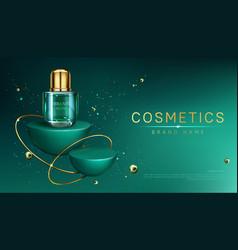 Cosmetic bottle on geometric podium mock up banner vector