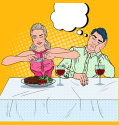 Couple having dinner in restaurant pop art vector