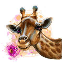 Cute giraffe with a flower sticker on wall vector