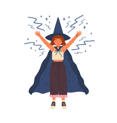 cute girl in witch hat and cloak conjures young vector image